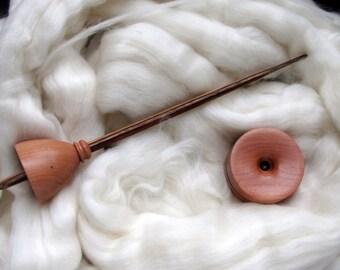 Support spindling starter pack kit in Tasmanian Myrtle and Dymondwood - spindle, bowl, fibre
