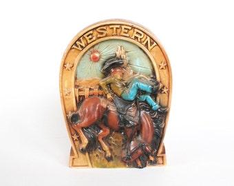 Vintage Cowboy/Western Composition Coin Bank