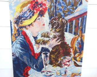 Large Vintage 1940's Needlepoint Tapestry Auguste Renoir Luncheon At The Boating Party Free Shipping