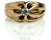 Antique Victorian Engagement Ring 14k Rose Gold Ring .20ctw 1800s Diamond Wedding Ring Old Mine Cut Diamond Ring Size 6!