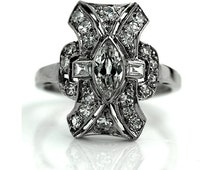 Antique Engagement Ring Old European Cut Diamond .76ctw Platinum Filigree Navette Ring Art Deco Engagement Antique Diamond Wedding Ring!