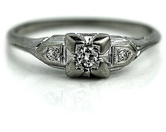 Antique Engagement Ring Art Deco Delicate Ring .19ctw 1930s Vintage Diamond Ring Delicate 18K White Gold Ring Dainty Diamond Ring Size 5.5!