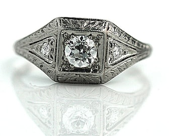Antique Engagement Ring Art Deco Engagement Ring Old .50ctw  European Cut Diamond Filigree Platinum Art Deco Wedding Ring!