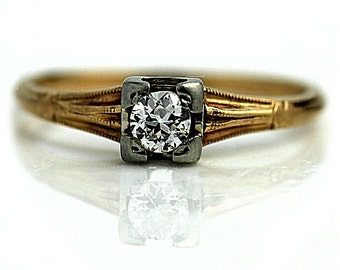 Antique Engagement Ring Art Deco Promise Ring .25ctw Diamond Ring 14k Two Tone Gold Solitaire Ring Dainty Ring Vintage Estate Ring Size 5.5!