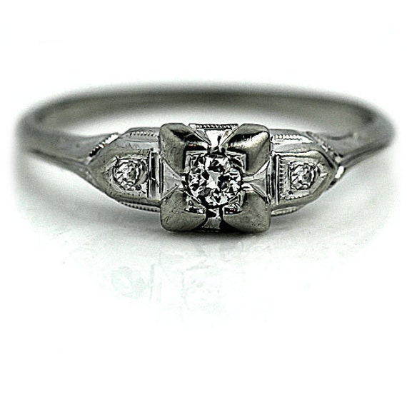 vintage dainty deco 19 ctw engagement ring 18k white gold
