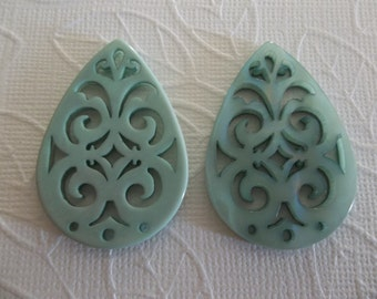 Turquoise Filigree Teardrop - 40X28mm Connector or Pendant - Lacy Laser Cut - Two-Sided - Lucite from Germany - Qty 1