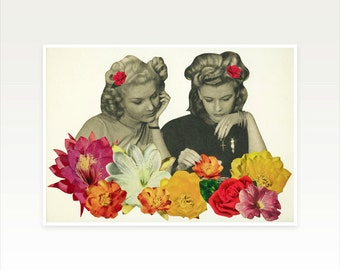 Flower Collage Art Print - Flower Collectors