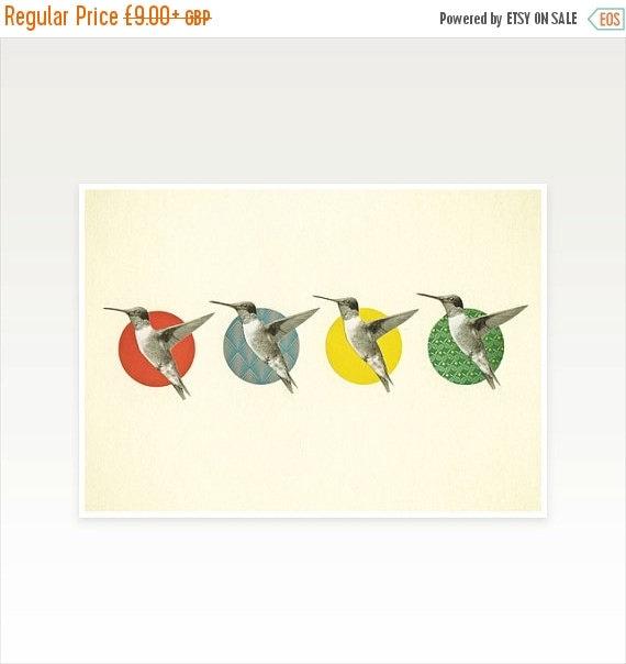 SALE 20% OFF Whimsical Bird Art Print - The Hummingbird Dance