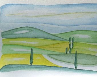 Green Tuscany original Watercolor by nerina52 landscape Watercolor Art Wall Decor Watercolor landscape whit cypress in Tuscany