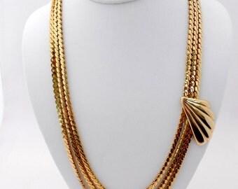 Vintage Goldtone Chain Necklace Asymmetrical