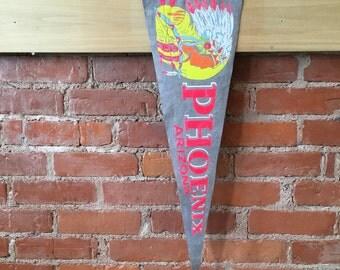 Vintage Neon Phoenix Arizona Felt Pennant // Travel Souvenir // Native American
