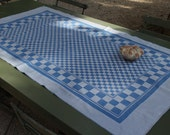 Blue Check Table Cloth. Vintage Table Runner .  Medium. Excellent Condition