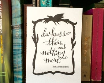 LETTERPRESS ART PRINT- Darkness there and nothing more. Edgar Allan Poe
