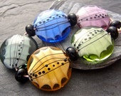 Tiptoe Softly - Handmade Lampwork Bead Set (11) by Anne Schelling, SRA