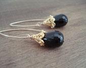 Vermeil and Black Onyx Gemstone Earrings - Black Drop Earrings - Long Gold Earrings - Boucles D'oreilles Or et Onyx Noir