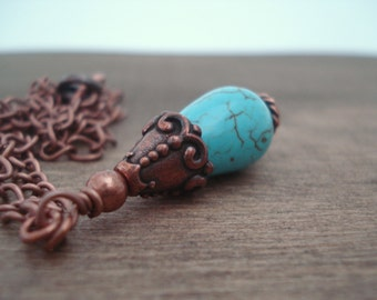 Copper and Turquoise Drop Necklace, Copper Necklace, Blue Necklace, Gift Idea for her, Ethnic Style Necklace, Collier Cuivre et Turquoise,