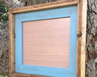 8 x10 Baby Blue Rustic Weathered Stacked And Stained Picture Frame, Rustic Home Decor, Baby Blue Frame