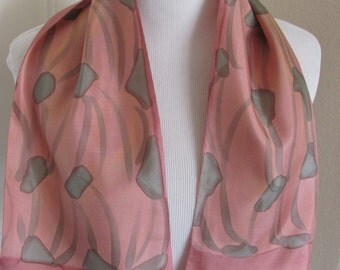 "Made in France Beautiful Vintage Pink 2 Layer Silk Scarf  - 7"" x 35"" Long (8624)"