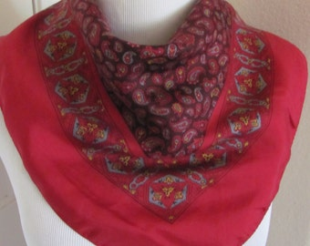 """Small Red Hand Blocked in England Silk Pocket Scarf  - 16"""" Inch 40cm  Square"""