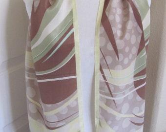 """Designer Lovely Beige Ivory Silk Scarf // 11"""" x 52"""" Long"""