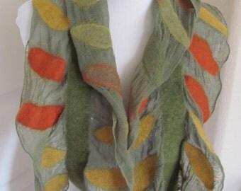 "Unique Aidai Bukon Handmade Wool Felted Scarf - 10"" x 40"" Long - Unused"