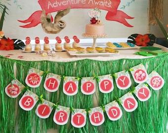 Printable DIY Tropical Rainforest Flower Theme Birthday Banner