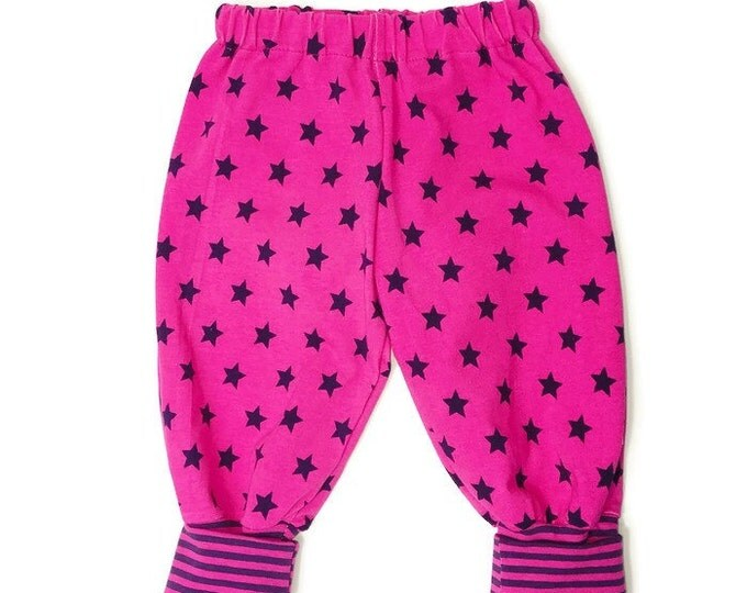 Pink with purple stripes, girls leggings, girls pants, leggings, girls outfit, baby clothing. Size NB - 24 months