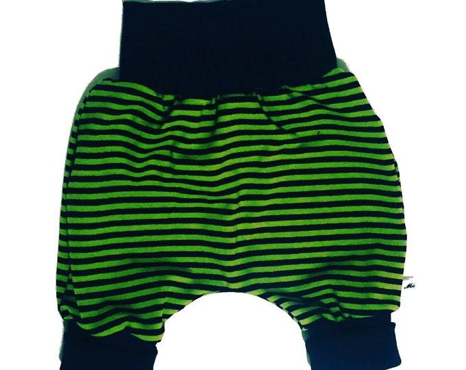 Baby kids toddler girl boy clothing harem pants baggy pants sweat pants, green dark blue stripes, boys outfit. Size preemie - 3 y