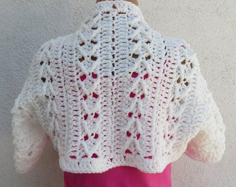 WHITE ARROW Sweater Shrug Cardigan Bolero Crochet Scallops - Medium/Large - OOAK