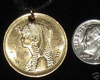 Authentic EGYPTIAN Egypt Cleopatra Coin Pendant Necklace
