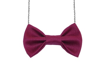 Twill Burgundy Bow Tie Necklace, Women Bowtie Accessory Burgundy, Maroon Dr Who Costume Party Bow tie, Fear Character Costume
