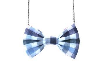 Blue Red Gingham- Bow Tie Necklace , Multicolored Plaid Baby Blue Navy Accessory for Girls and Women, Gift Bridesmaids Party Favor