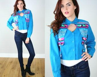 Vintage 1980s WRANGLER Western CROP Shirt