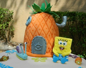 Spongebob Cake Toppers fondant Set