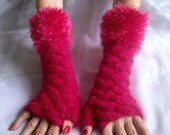 HAND KNITTED GLOVES / Women Accessories Mittens Fingerless Wrist Warmers Elegant Winter / Crochet Arm Romantic Warm Feminine Cabled Chic 57