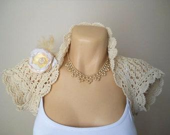 LIQUIDATION Stock SALE 30% OFF / Bridal Shrug Bolero Wedding Bridesmaid Accessories Hand Knitted Crochet Ecru Jacket Cardigan Women Capelet