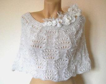 LIQUIDATION Stock SALE 30% OFF / Bridal Cape Capelet Wedding Accessories Hand Knitted Shrug Bolero Romantic Crochet Women Elegant Necklace