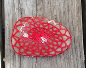 crochet covered stone paper weight, wedding favor, meditation altarpiece, home or office decor
