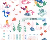 Beautiful, PRINTABLE Watercolor Mermaid Stickers for Planners