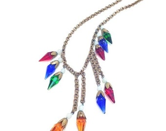 vintage glass colored necklace