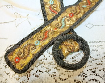 Victorian Edwardian Cloth Belt Hand Painted Embroidered