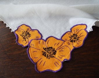 Linen Luncheon Tablecloth Applique Poppies Vintage Orange Purple 35 x 36