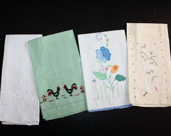 Vintage Finger Tip Towels Lot of 4 Embroidered Roosters Cranes