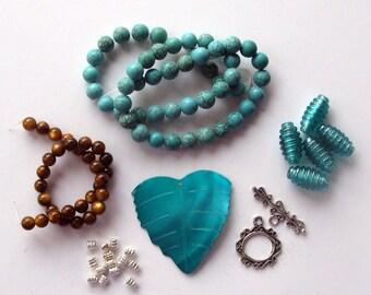 Bead Kit Aqua Shell Pendant Mother of Pearl Magnesite Glass Beads a Plenty Kit