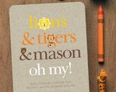Lions & Tigers and Bears, Oh My! // CUSTOM BIRTHDAY INVITATION // 5x7 // Digital Birthday Invitation // Printable Birthday Invitation