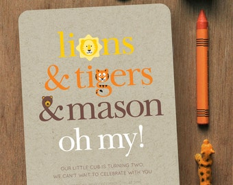 Lions & Tigers and Bears, Oh My! // CUSTOM BIRTHDAY INVITATION // 5x7 // Digital Birthday Invitation // Printable Birthday Invitation