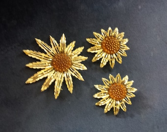 Sarah Coventry Sunflower Brooch and Earring Set Goldtone