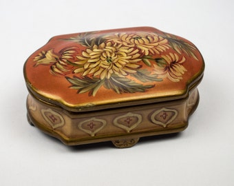 Toyo Porcelain Box Designed by Lillian August / Hand Painted Chrysanthemums on Burnt Orange Background