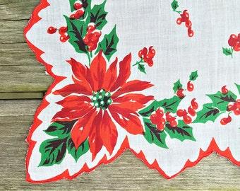 Vintage Christmas Handkerchief Hankie  Red Poinsettia Christmas Hanky Holiday Hankie Handkerchief