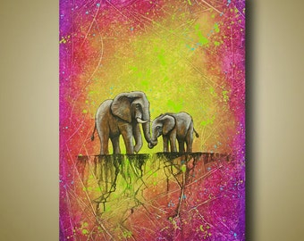 Mother and Baby Elephant Painting - Colorful Elephant Art Original Painting 24x36 - Bright Colors - So Precious To Me by Britt Hallowell